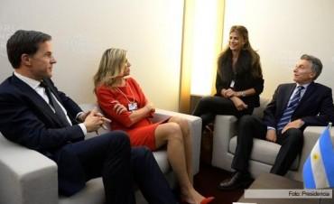 Mauricio Macri, junto a la reina Máxima de Holanda