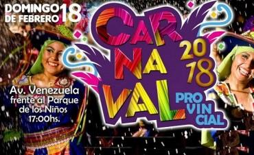 """Este domingo el """"Carnaval Provincial 2018"""""""