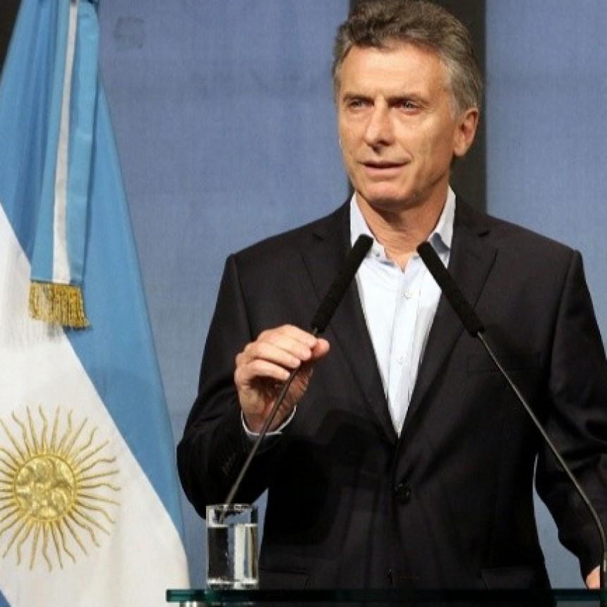 Macri da una conferencia de prensa en Olivos