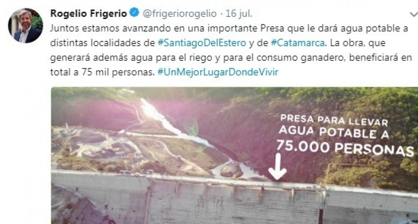 """Friguerio destacó el avance de Obra del Dique el Bolsón """"Juntos estamos avanzando"""""""