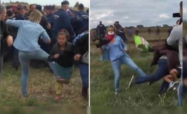 La camarógrafa húngara que pateó a refugiados pidió perdón