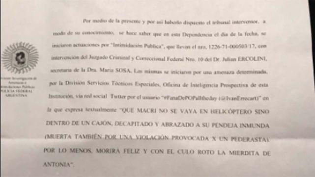 Nueva amenaza contra Mauricio Macri