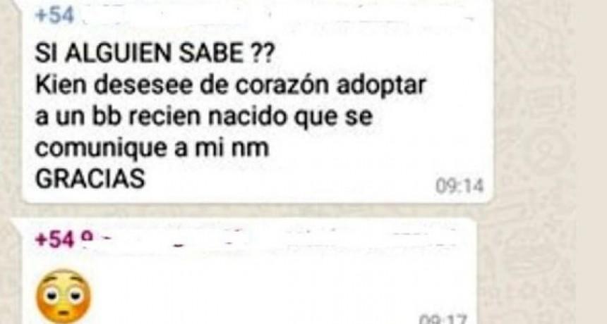 Embarazada ofreció a su bebé en un grupo de WhatsApp