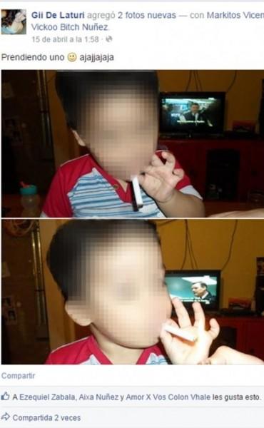 La Pampa: Le da cigarrillos a su pequeño hijo y comparte las imágenes en Facebook