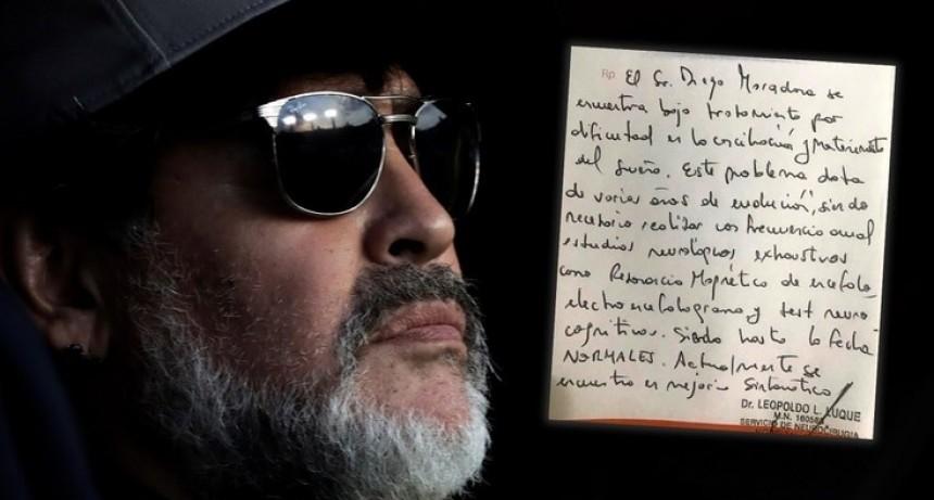 Documento: se filtró el diagnóstico oficial sobre la salud de Diego Maradona