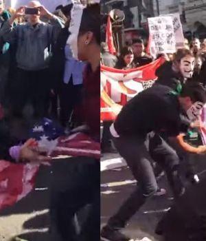 Con máscaras queman bandera yanqui contra el FMI