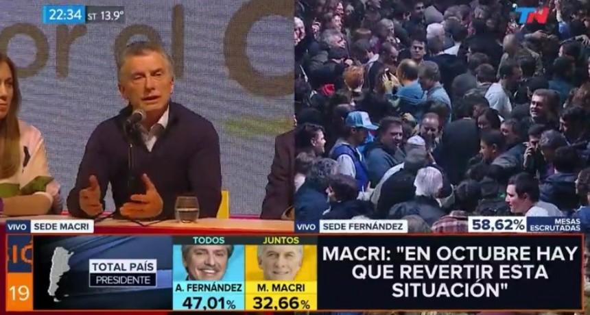 Primeros datos oficiales: Alberto Fernández, 47,1%; Mauricio Macri, 32,6%