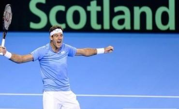 Del Potro  logró el primer punto de la semifinal, ganó en cinco sets a Murray