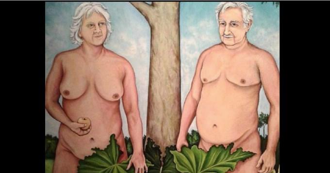 Escándalo por obra de arte con Mujica y su esposa desnudos