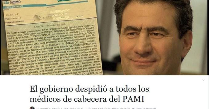 Cristina denunció despidos en el PAMI
