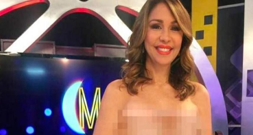 Una conductora dominicana presentó su programa en topless