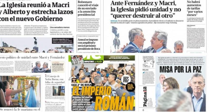 El abrazo entre Alberto Fernández y Macri en la misa antigrieta, en las tapas de los diarios argentinos